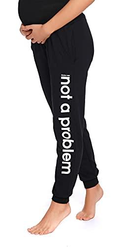 Doctor Nap - Pantalones de maternidad para mujer con panel abdominal, opacos, pantalones de jogging para mujeres embarazadas, de algodón Pantalón negro. XL