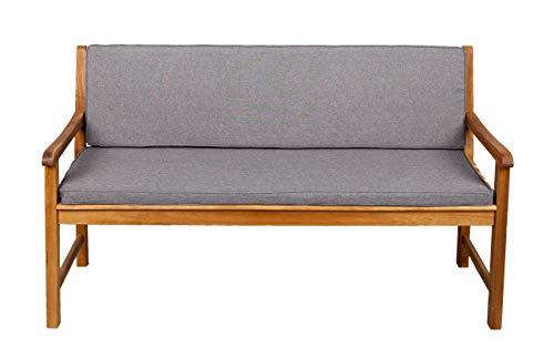 Bankauflage Für Hollywoodschaukel Set Glatt Sitzkissen + Rückenlehne FK5 (190x60x50, Hellgrau)