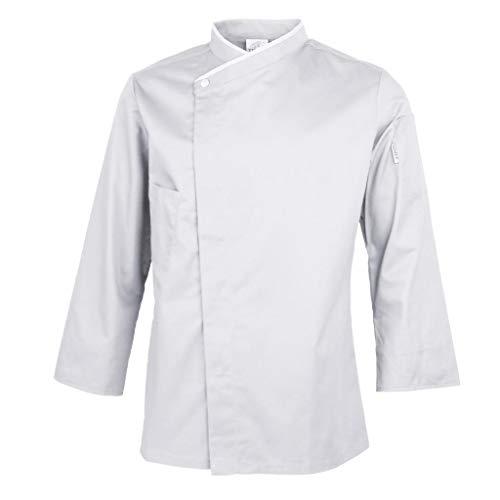 Baoblaze Uniforme de Cocinero Camisa Chef Hombre Manga Larga Transpirable Chaqueta de Trabajo de Panadería, Restaurante y Cafetería - XL blanco, M-3XL