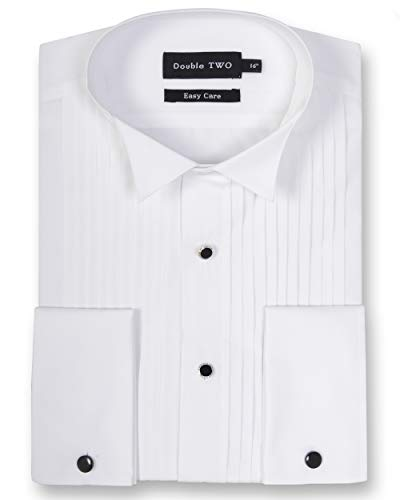 Double Two Men's White Wing Collar Stitch Pleat Dress Shirt (Collar 19', White)