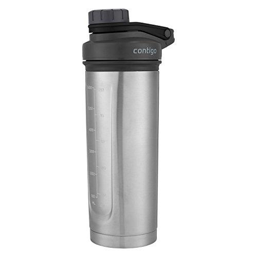 Contigo THERMALOCK Shake & Go Fit Stainless Steel Shaker Bottle, 24 oz, Grey/Black