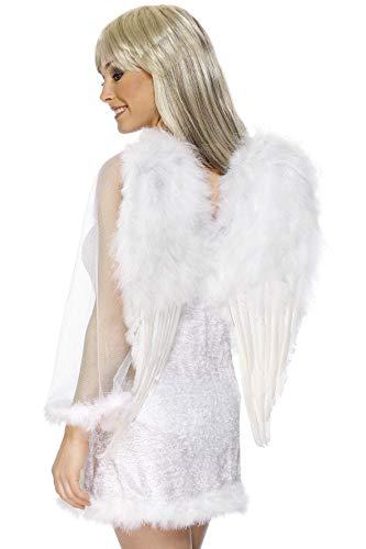 Smiffys-20094 Alas de ángel, Blancas, con Plumas, 50cmx60cm / 20inx24in, Color, Applicable...