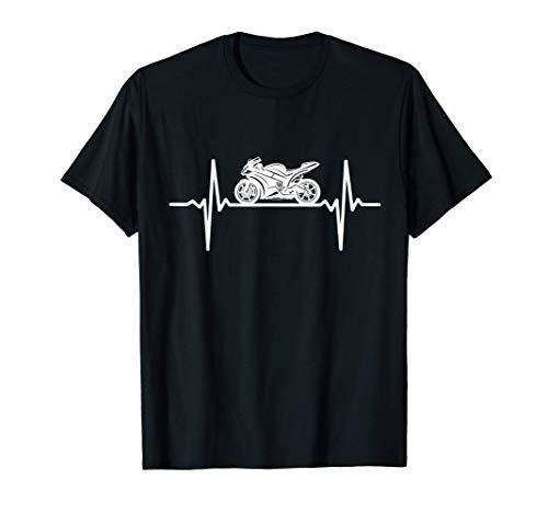 Motorrad Herzschlag Biker EKG Herzfrequenz Motorradfahrer T-Shirt