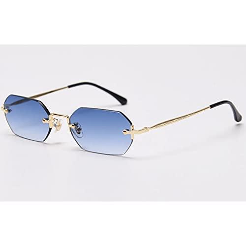 Tanxianlu Gafas de Sol rectangulares para Hombre, Gafas pequeñas octogonales sin Montura, para Mujer, Metal Dorado, polígono, Azul, marrón, Uv400 sin Marco,S