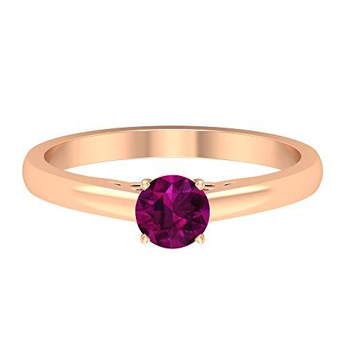 Anillo de compromiso clásico, 0,5 ct 5 mm, anillo solitario de rodolita, anillo de boda vintage grabado en oro, anillo de declaración de las mujeres, 18K Oro rosa, Size:EU 70