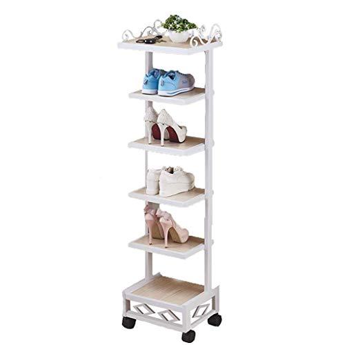 LONGJUAN-C Zapatero de Acero Simple de Madera Multi-Capa de Almacenamiento en Rack de Hogares Soporte de Zapatos