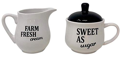 Homestyle Table Juego de azucarero y Soporte para Servir Crema, cerámica en Blanco y Negro