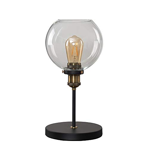 Industrial Steampunk Style Black and Gold Table Lamp with a Clear Glass Globe Shade - Complete with a 4w LED Filament Bulb [2700K Warm White]