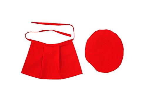お地蔵さん 前掛け よだれかけ 帽子 まえかけ 赤色 (まえかけと帽子のセット)