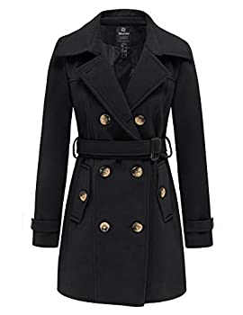 Wantdo Women s Plus Size Double-Breasted Slim Solid Pea Coats with Belt Black XL