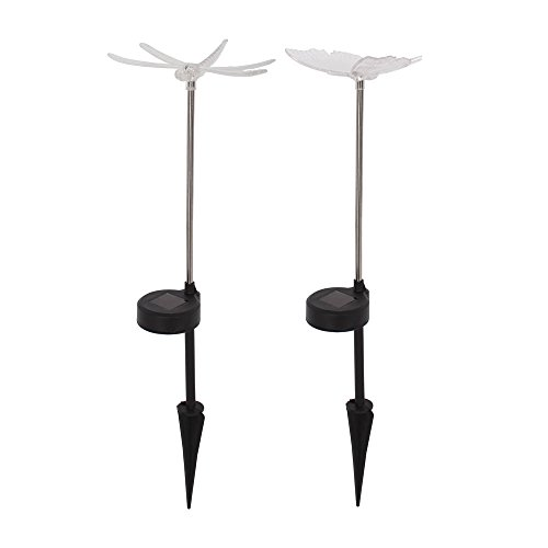 Libelle Schmetterling 2er Set Solarlampe Solar-Figur LED-Stab Leuchte mit Erdspieß