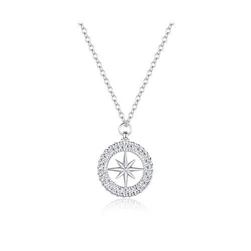 MLSWW Halskette Design einfache Reis Wort Stern Anhänger Mode Kreis Halskette Frauen Halskette Joker Schmuck Schlüsselbeinkette Geschenke