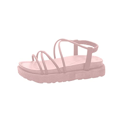 Yuanjay Women's Summer Casual Adjustable Flat Shoes Open Toe Ccross Strap Plus Size Strappy Walking Sandals Pink 38