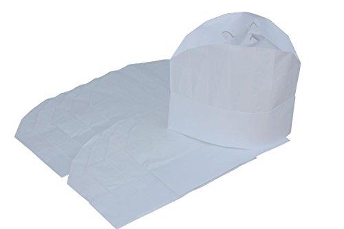 Kochmütze Excellent Standard aus geprägtem Papier mit plissiertem Oberteil - 10 Stück