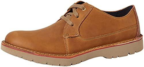 Clarks Vargo Plain, Zapatos de Cordones Derby para Hombre, Marrón (Dark Tan Leather), 42.5 EU