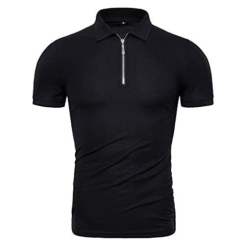 LSSM Sommer Herren Poloshirt Einfarbig Polo Shirt Slim Kurzarm T-Shirt Schwarz L