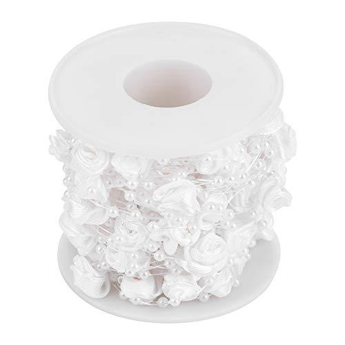 Hilitand 10m / Rotolo 3mm Rose Filo Artificiale Perla Perline Ghirlanda String Fai da Te Decorazione di Cerimonia Nuziale, Finto Cristallo in Rilievo(White)