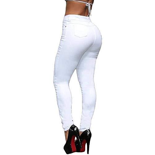 Calça Jeans Feminina Cintura Alta Skinny Branca Cor:Branco;Tamanho:44;