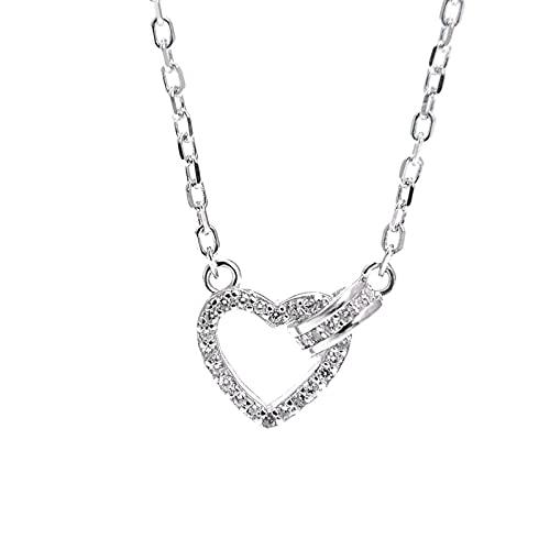 YNING Collar Femenino/Collar con Colgante de Amor de Diamantes/Plata de Ley S925 / Diseño Hueco con Incrustaciones de Diamantes/Longitud de Cadena Ajustable