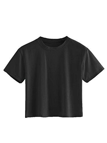 SweatyRocks Women's Casual Short Sleeve Crew Neck Basic Crop Top T Shirts Black M
