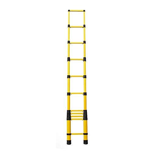 LADDER Escaleras telescópicas, Escalera telescópica extra alta de 5 m con protección contra pellizcos para los dedos, Escalera de extensión de fibra de vidrio para trabajo pesado para diy tipo loft,