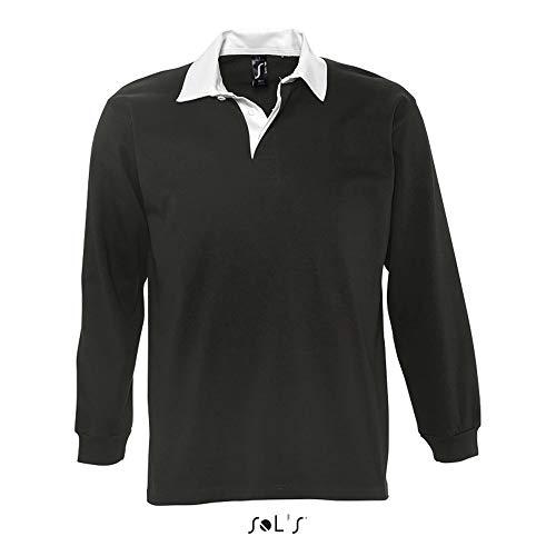 Sol'S Pack - Polo Homme à Manches Longues Bicolore - Style Rugby avec Un col contrasté - Noir - L