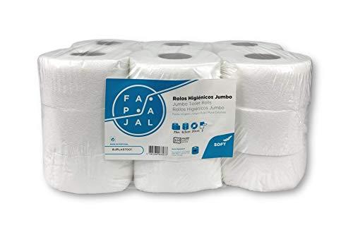 Fapajal Papercare Rollo de Papel Higiénico Jumbo, Celulosa Virgen, 2 Capas, Laminado, 75 Metros, 18 Rollos (Rjpla97001)