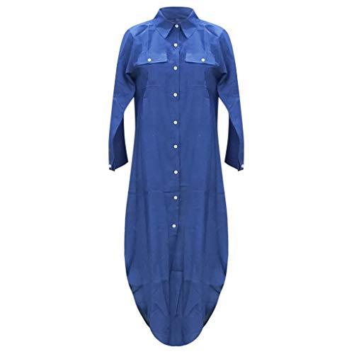 Vestido Largos de Manga Larga con Botones Mujer Bohemio Verano Nacional Fiesta Casual Cuello en V Costura Wrap Maxi Vestidos Chic de Noche Playa Vacaciones Cóctel Falda Larga Talla Grande(E Azul,S)