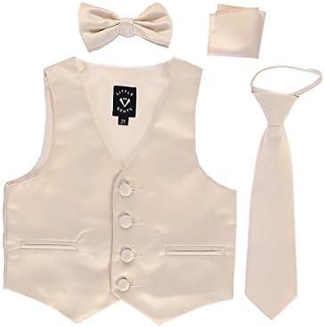 Champagne Little Boys 4 Piece Formal Satin Vest Set Zipper Tie Bowtie Hanky 3T product image