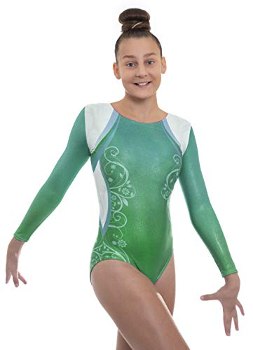 Velocity Dancewear Deluxe Decor Long Sleeve Gymnastics Leotards for Girls (Green, 11-12 Years)