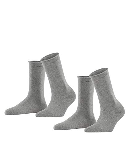ESPRIT Damen Basic PURE 2-Pack W SO Socken, Blickdicht, Grau (Light Grey Melange 3390), 39-42 (2er Pack)