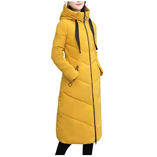 Bravetoshop Women's Slim Fit Down Jacket Winter Thicken Puffer Coat Mid Length Adjustable Hooded Overcoat(Yellow,L)