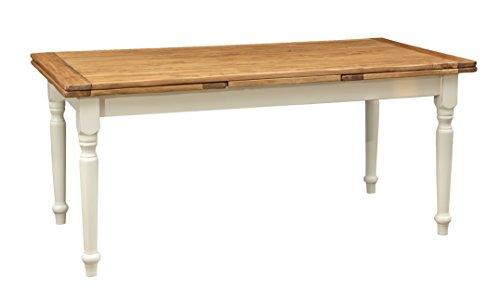 Biscottini Table Extensible en Bois Massif de Tilleul – Style Country – Style Shabby – Structure Blanche vieillie Plan Naturel L 180 x P 90 x H 80 cm