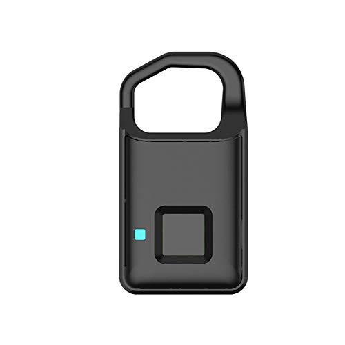 Fingerprint Vorhängeschloss, Metall wasserdicht Geeignet für Haustür Rucksack Koffer Bike Gym Office (schwarz)