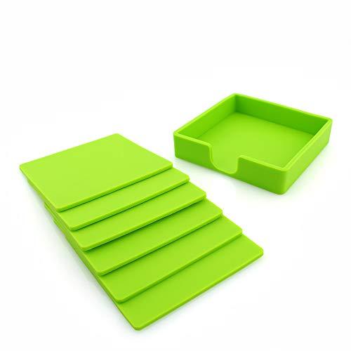 LANJ Waschbarer Untersetzer Einfaches Einfarbiges Rundes Silikonuntersetzerset 6-Tlg