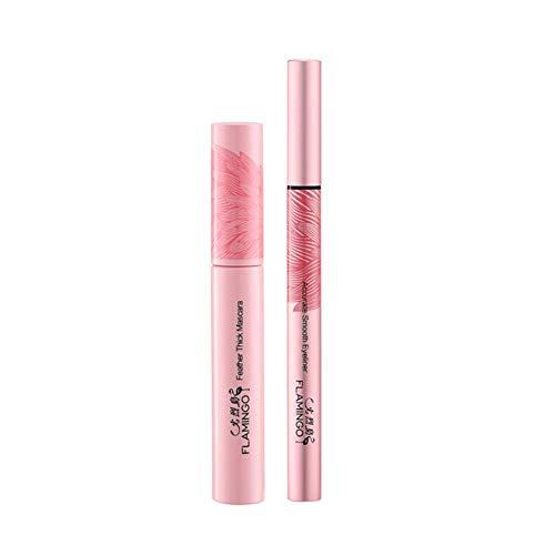 2 pièces/set Yeux Pro Makeup Kit Cils Mascara Extension Fuller volumisant de cils lisse Traceur liquide Long Lasting Yeux Cadeaux cosmétiques femme (Rose)