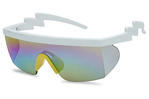 Large Wrap Around Rainbow Mirrored Semi Rimless Flat Top Shield Goggles Sunglasses (White Yellow Frame   Rainbow Mirror)