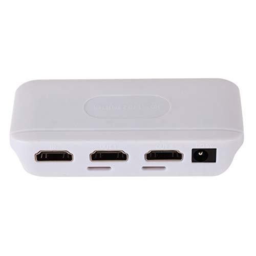 ZBSM Divisor Compatible con HDMI, Conmutador Cruzado de TV de VíDeo de Alta DefinicióN de una Entrada y Dos Salidas para PortáTiles, Ps4, Ps3, Etc.