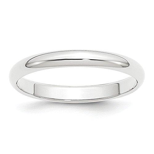 Alianza de boda de platino de 3 mm, semicircular, tamaño 4