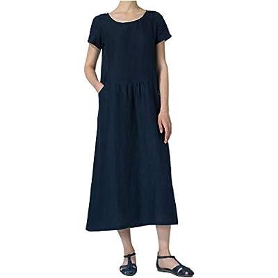 LISTHA Cotton Linen Summer Midi Dress Women Button Short Sleeve Crewneck Dresses
