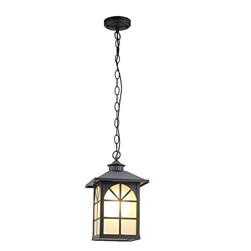 Binnen Buiten hanglamp tuin hanglamp lantaarn buitenlamp landhuis aluminium glas 60W IP23 E27 buiten terras balkon ingang verlichting, zwart
