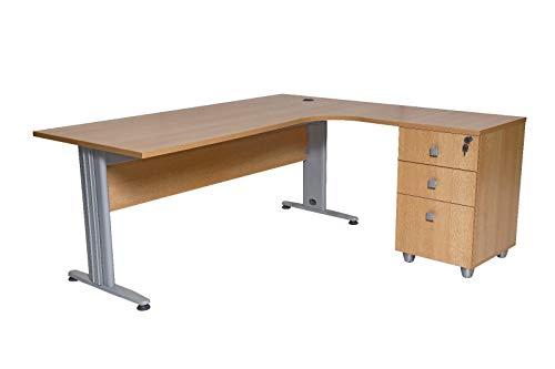 furni24 Schreibtisch Winkelschreibtisch Eckschreibtisch Computertisch buche inkl. Beistellcontainer 180 cm x 120 cm x 74 cm rechts gewinkelt