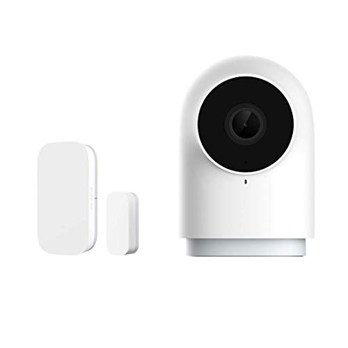 Aqara Door and Window Sensor plus HomeKit Security Indoor Camera G2H, Two-Way Audio, 1080P HD Indoor Camera, Family-Friendly Video Surveillance System, Smart Home Bridge for Alarm System