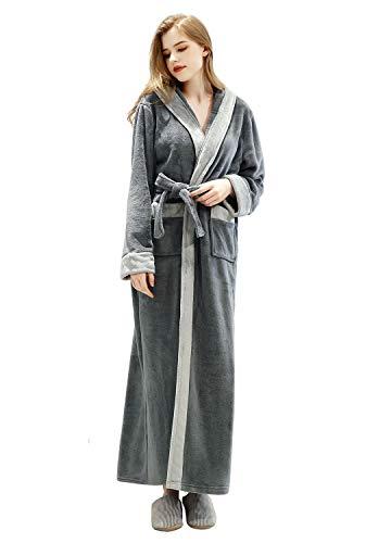 LOFIR Damen Winter Fleece Morgenmantel mit Kapuze Langer Bademantel Weich Warm Flauschiges Nachthemd Flanell Plüschhalsband Nachtwäsche Leicht Nachtwäsche