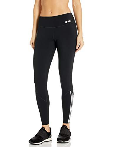 2XU Damen Fitness Stride Kompressionsstrumpfhose, Damen, Eng, Fitness Stride Compression Tight, Schwarz/vertikaler Streifen Weiß, Large