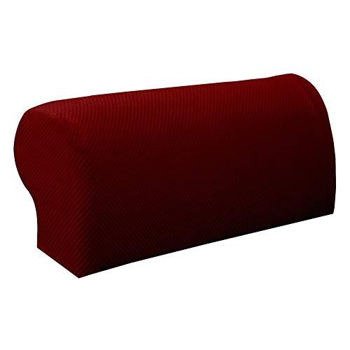 Webri 1 Paar Armlehnenschoner für Sofa/Couch/Sessel, Stretch-Armlehnenbezug rot
