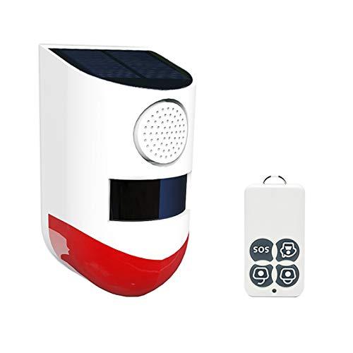 CoRui 120 dB Solarenergie, kabellos, Blinklicht, Sirene, 5 Modi, Alarm, mit Schlüsselanhänger-Fernbedienungen und...