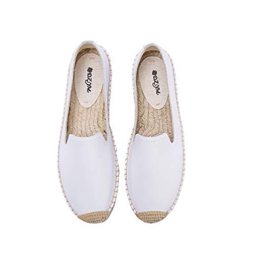 Mujeres Alpargatas de Cuero Primavera Verano Plataforma Baja Color sólido Mocasines de Ocio Mujer Zapatos de Lona al Aire Libre conciso