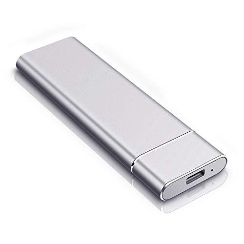 Disco duro externo de 2 TB, disco duro externo tipo C para Mac Laptop PC (2 TB, plata)
