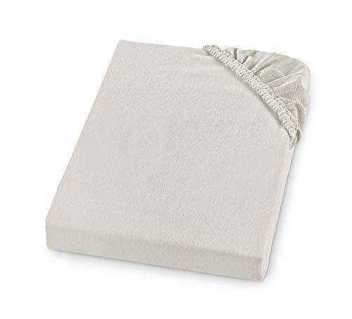 sleepling Comfort Sábana Bajera de Franela Suave, Fabricada en Alemania, 100% Algodón, para Colchones de hasta 23 cm de Altura, Banda Elástica Circular, 90 x 200, Crema